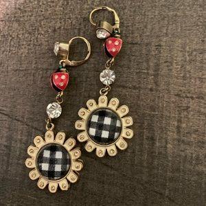 Betsey Johnson ladybug daisy drop earring